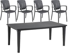 SAMENSTELLEN 1x Jardin Futura tafel met 4x Grosfillex Playwood stoelen 1